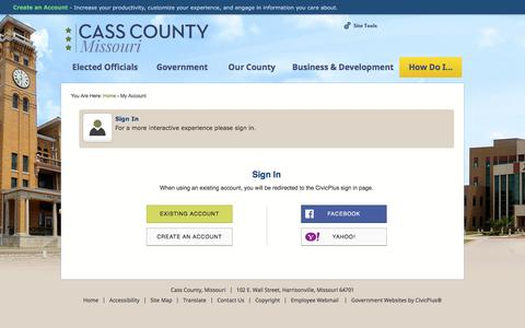 Screenshot of Login Page casscounty.com - Cass County, MO - Official Website - captured July 13, 2018