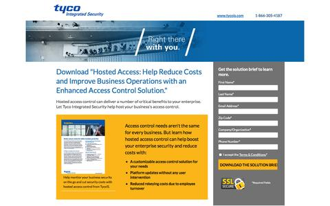 Screenshot of Landing Page tycois.com - Download Hosted Access Solution Brief| TycoIS - captured Oct. 27, 2014