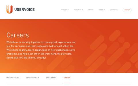 Screenshot of Jobs Page uservoice.com - Careers | UserVoice - captured Aug. 23, 2016
