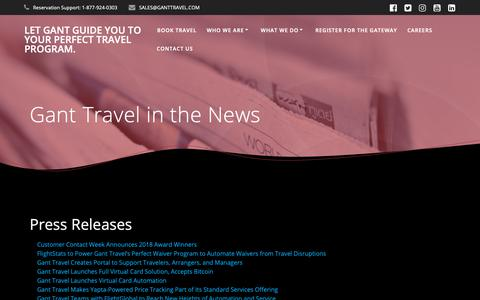 Screenshot of Press Page ganttravel.com - Gant Travel in the News – Let Gant guide you to your perfect travel program. - captured April 18, 2019