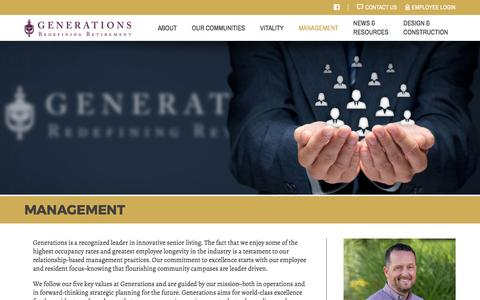 Screenshot of Team Page generationsllc.com - Senior Living Management and Management Practices: Generations - captured May 16, 2017