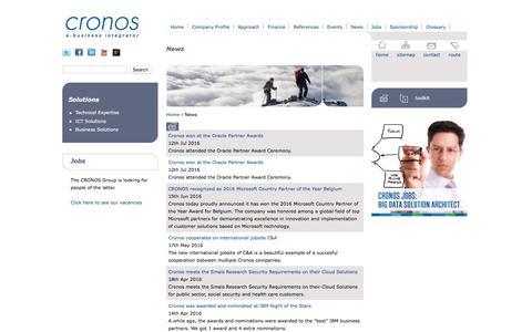 Screenshot of Press Page cronos.be - News | Cronos - captured Sept. 15, 2017