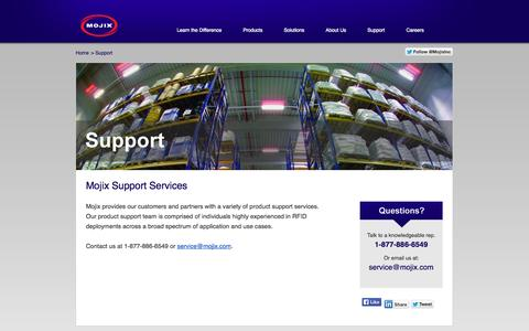 Screenshot of Support Page mojix.com - Contact Mojix Support Services   Customer and Partner Login Page - captured Oct. 7, 2014