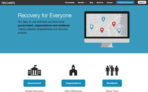 Screenshot of Home Page recovers.org - Recovers - Community-Powered Disaster Recovery - captured Sept. 17, 2014
