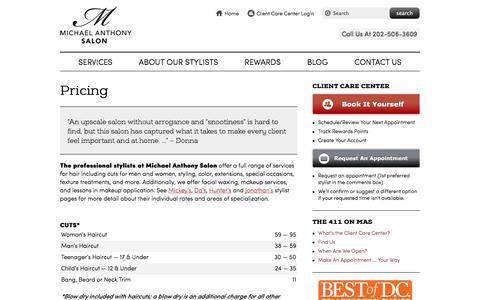 Screenshot of Pricing Page michaelanthonysalondc.com - Michael Anthony Salon Pricing | Capitol Hill Hair Salon DC | Michael Anthony Salon DC - captured Oct. 27, 2014