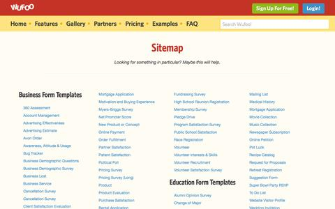 Screenshot of Site Map Page wufoo.com - Sitemap | Wufoo - captured Sept. 16, 2014