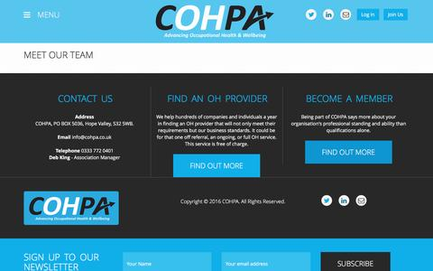 Screenshot of Team Page cohpa.co.uk - » Meet our team - captured Oct. 8, 2016