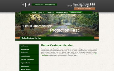 Screenshot of Support Page hardingjacob.com - Online Customer Service | HJIAHJIA - captured Oct. 2, 2014