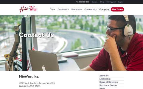 Screenshot of Contact Page hirevue.com - Contact | HireVue - captured Sept. 25, 2014