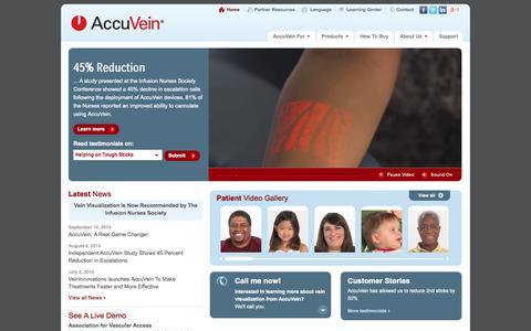 Screenshot of Home Page accuvein.com - AccuVein | Vein Finder, Venipuncture, Vein Illumination, Vein Visualization - captured Sept. 12, 2014