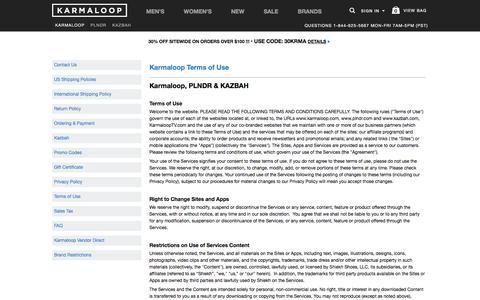 Terms of Use -  Karmaloop.com