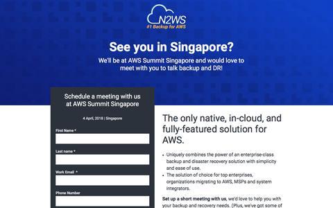 Screenshot of Landing Page n2ws.com - Meet N2WS at AWS re:INVENT 2017 - captured April 14, 2018