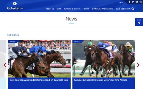 Screenshot of Press Page godolphin.com - Godolphin thoroughbred horseracing news from around the world - captured Nov. 5, 2018