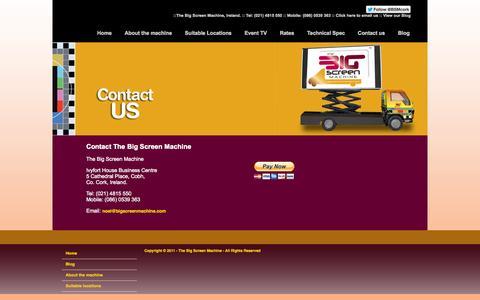 Screenshot of Contact Page bigscreenmachine.com - Digital Outdoor Advertising Screen Cork: The Big Screen Machine - captured Oct. 9, 2014