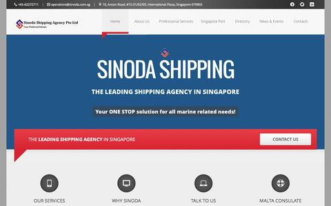 Screenshot of Home Page sinoda.com.sg - Sinoda Shipping Agency Singapore - Leading Ship Agents - captured Oct. 7, 2014