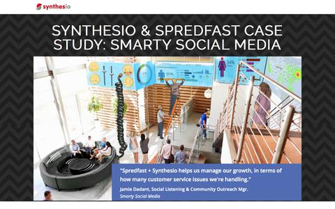 Screenshot of Landing Page synthesio.com - Synthesio & Spredfast Case Study: Smarty Social Media - captured April 9, 2018