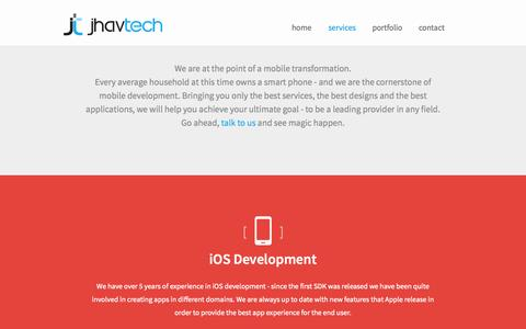 Screenshot of Services Page jhavtech.com.au - Services - JhavTech: Consulting & Mobile development (iOS, Android, Windows Phone) - captured Oct. 6, 2014