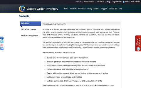 Screenshot of Products Page goodsorderinventory.com - GOIS - Product | Retail Inventory Management - captured Oct. 6, 2014