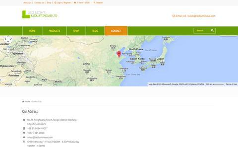 Screenshot of Contact Page ledluminous.com - Contact Us - captured Oct. 1, 2014