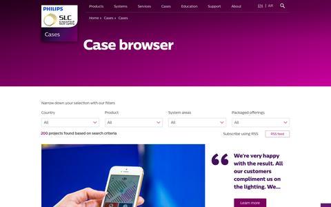 Screenshot of Case Studies Page philips.com - Case browser - Philips Lighting - captured Nov. 18, 2016