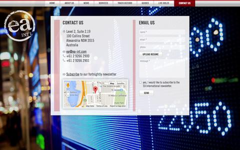 Screenshot of Contact Page ea-int.com - Contact EA International - captured Oct. 1, 2014