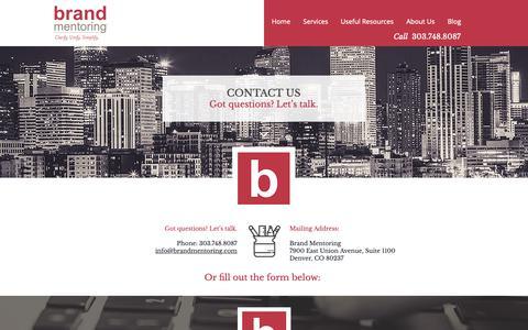 Screenshot of Contact Page brandmentoring.com - Contact Brand Mentoring - captured Nov. 6, 2018