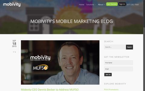Screenshot of Blog mobivity.com - Mobivity's Mobile Marketing Blog - captured Sept. 26, 2015