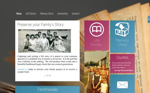 Screenshot of Home Page telltales.ie - Capture your Family's Story - captured Sept. 30, 2014