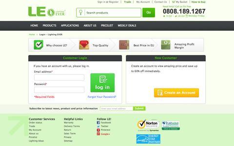 Screenshot of Login Page lightingever.co.uk - Login - Lighting EVER - captured Sept. 22, 2014