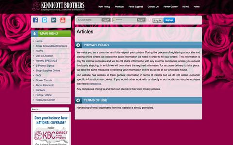 Screenshot of Privacy Page kennicott.com - Privacy Policy | About Us | Kennicott About Us - captured Oct. 6, 2014
