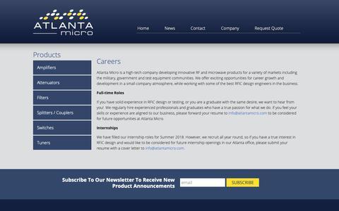 Screenshot of Jobs Page atlantamicro.com - Careers - Atlanta Micro - captured Oct. 19, 2018