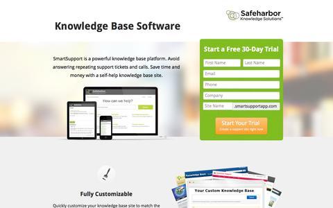 Screenshot of Landing Page safeharbor.com - Knowledge Base Software · Safeharbor - captured Oct. 27, 2014