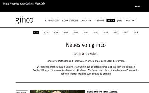 Screenshot of Press Page giinco.de - 2018 - captured July 25, 2018