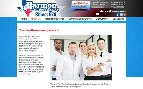 Screenshot of About Page harmonins.net - About Harmon Insurance Agency - captured Oct. 26, 2016