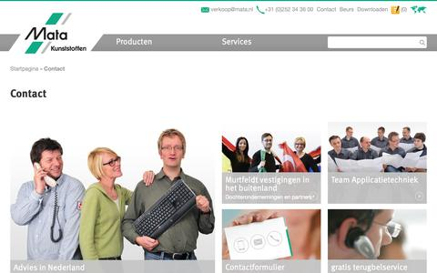 Screenshot of Contact Page mata.nl - Contact / Murtfeldt - Prestaties in kunststoffen. - captured Oct. 17, 2018