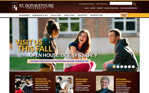 Screenshot of Home Page sbu.edu - St. Bonaventure University - captured Sept. 25, 2014