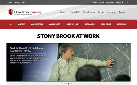 Screenshot of Jobs Page stonybrook.edu - Stony Brook University, New York | Jobs - captured Sept. 21, 2018