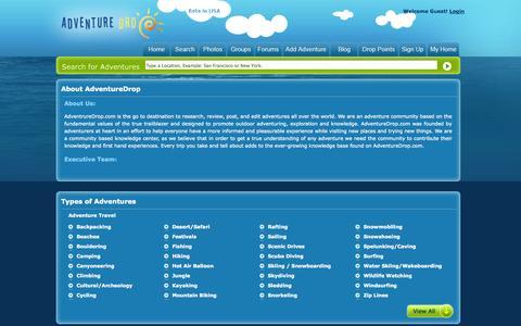 Screenshot of About Page adventuredrop.com - About AdventureDrop - captured Sept. 13, 2014