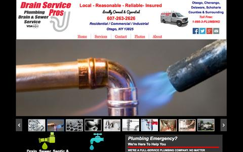 Screenshot of Home Page drainservicepros.com - Drain Service Pros Plumbing Drain & Sewer Service - captured Oct. 5, 2014