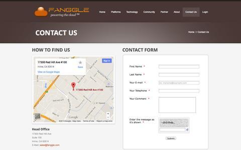 Screenshot of Contact Page fanggle.com - Contact Us  |  Fanggle | Vertical Cloud Platforms - captured Sept. 30, 2014