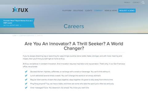 Screenshot of Jobs Page krux.com - Career Openings at Krux | Krux - captured Sept. 9, 2016