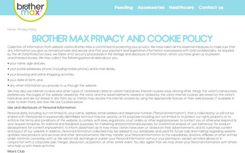 Screenshot of Privacy Page brothermax.com - Brother Max | Privacy Policy - captured Dec. 9, 2018
