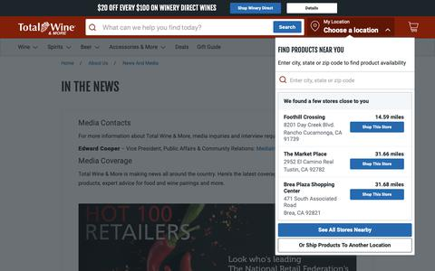 Screenshot of Press Page totalwine.com - News and Media | Total Wine & More - captured June 6, 2019