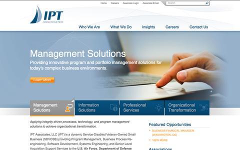 Screenshot of Home Page iptassociates.com - IPT Associates   Home - captured Sept. 30, 2014