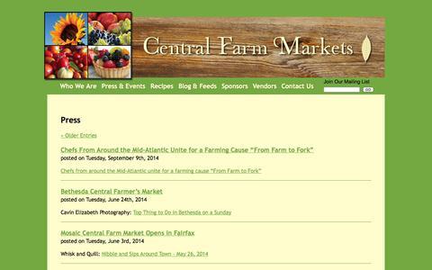 Screenshot of Press Page centralfarmmarkets.com - Press | Central Farm Markets - captured Sept. 29, 2014