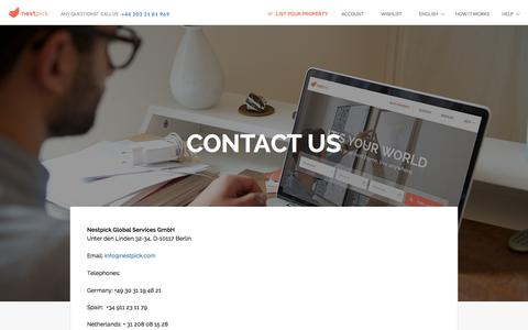Screenshot of Contact Page nestpick.com - CONTACT US - captured Nov. 4, 2015