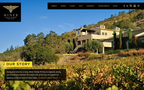 Screenshot of Home Page minerwines.com - Miner Family Wines | Oakville CA Winery - captured Feb. 12, 2016
