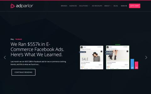 Screenshot of Home Page adparlor.com - AdParlor | Video and Social Advertising Platform - captured April 11, 2017