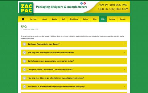 Screenshot of FAQ Page zacpac.com.au - FAQs | Zac Pac Australian Packaging Solutions - captured Oct. 7, 2014