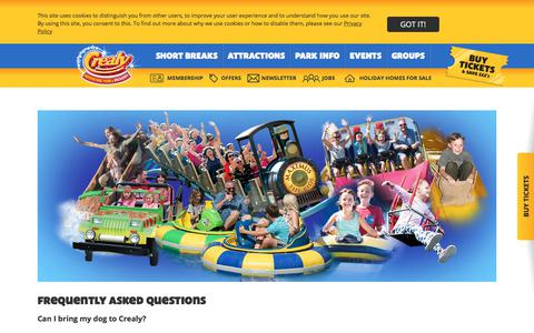 Screenshot of FAQ Page crealy.co.uk - FAQs | Crealy Adventure Park & Resort - captured July 20, 2018